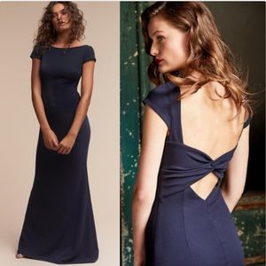 BHLDN Katie May Madison Twist Back Maxi Dress Navy